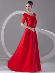 Chic Red Satin Tiered Turndown Collar Womens Evening Dress