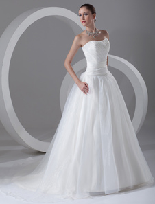 Charming Ivory Aline Strapless Tiered Organza Wedding Dress For Bride