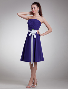 Grape Floral Strapless Chiffon KneeLength Fashion Cocktail Dress
