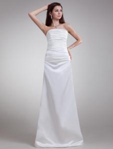 Modern White Satin Tiered Strapless Sexy Evening Dress
