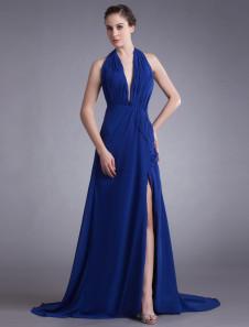 Chic Royal Blue Chiffon Tiered Halter Womens Evening Dress