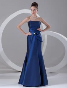 Image of Abbigliamento da sera blu reale da ballo senza spalline a terra in taffetà