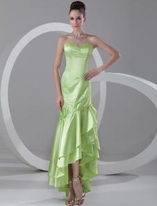 Sweetheart Evening Dress Neon Green Sequin Strapless Mermaid Prom Dress High Low Ruffle Tiered Formal Dress
