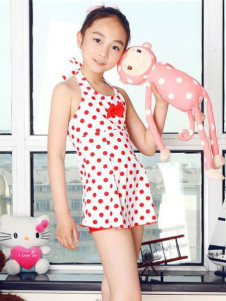 halter-bow-polka-dot-polyester-girls-body-con-swimwear