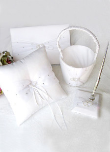 Linked in Hearts White Satin Wedding Collection  Set of 4