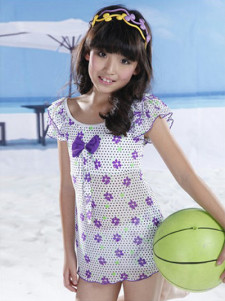 sweet-bow-layered-print-polyester-girls-swimwear-camicole-set