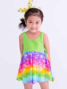 cute-drawstring-designed-geometric-knotted-chiffon-one-piece-swimwear-for-girls