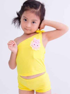 lovely-asymmetrical-animal-pattern-lace-up-polyester-one-piece-girls-swimwear