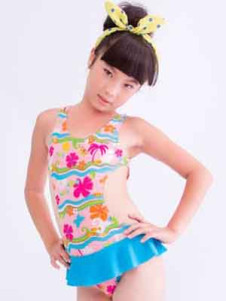sweet-blue-peplum-ruffles-floral-print-polyester-one-piece-girls-swimwear