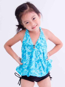 cute-halter-lace-up-printed-polyester-girls-swimwear