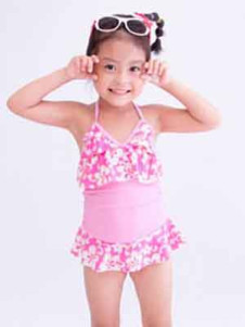 cute-one-piece-ruffled-floral-pattern-polyester-girls-swimwear