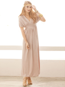 Charming Pink Shaping Pleated Polyester VNeck Womens Maxi Dress