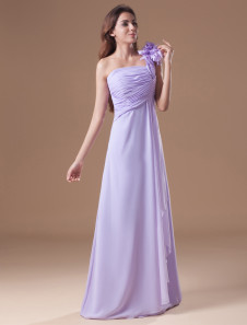 Lilac Prom Dress One Shoulder Flowers Chiffon Bridesmaid Dress Cascading Ruffles Floor Length Evening Dress
