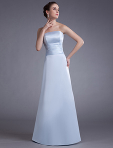 Satin Evening Dress Baby Blue Strapless Long Prom Dress Floor Length Formal Party Dress