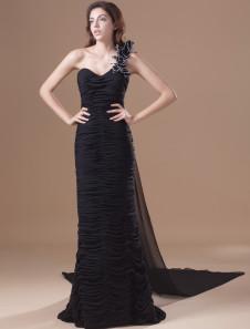 Chic Black Chiffon Tiered OneShoulder Fashion Evening Dress