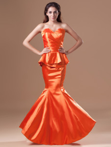 Grace Orange Taffeta Tiered Sweetheart Neck Mermaid Evening Dress
