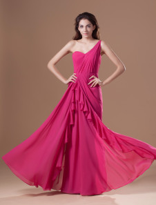 Grace Fuchsia Chiffon Cascading Ruffle One-Shoulder Women's Evening Dress