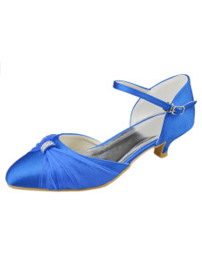 Cute Pointed Toe Blue Satin Kitten Heel Bridal Shoes