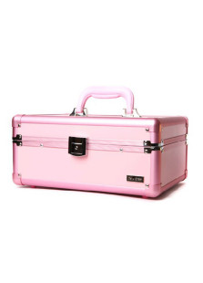 Pink 2Trays Portable Jewelry Cosmetic Makeup Case Lockable Aluminum Box With Brush Holder