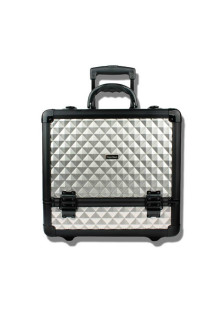 Silver Rolling Jewelry Cosmetic Makeup Train Case Lockable Aluminum Wheeled Box with Trays