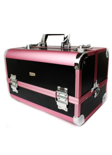 Black Portable Jewelry Cosmetic Makeup Case Lockable Aluminum Box