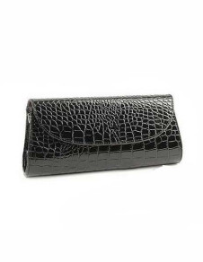 Black Crocodile Pattern PU Leather Clutch Bag