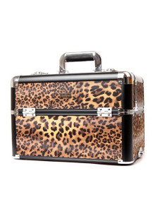 Leopard Portable Jewelry Cosmetic Makeup Case Lockable PU Box With Trays And strap