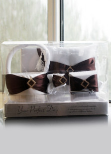 Beautiful Brown Plaid Satin Wedding Collection Set of 5