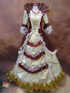 Image of Blocco di colore rosso Costume retrò principessa rococò palla abito femminile balza mezza manica Costume Vintage Royal Maxi Dress Carnevale