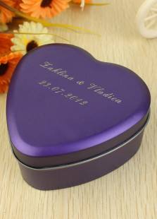 Chic Purple Medium Heart Shape Iron Personalized Wedding Tin Box(Set of 24)