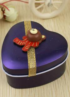 Cute Heart Shape Purple Bear Tin Boxes Set of 12 For Wedding