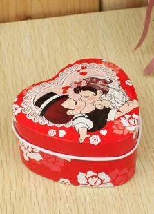 Sweet Red Kiss Heart Shape Wedding Tin Box(Set of 12)