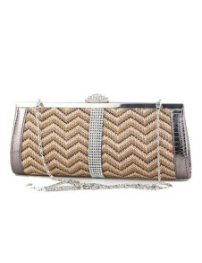 Retro Beige Quilted Straw Clutch Bag for Woman