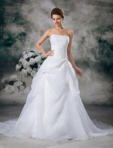 Image of Abito da sposa bianco organza senza spalline con strascico