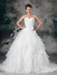 Image of Abito da sposa avorio organza senza spalline vestito da ballo strascico