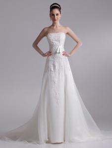 Elegant Ivory Aline Strapless Rhinestone Tulle Bridal Wedding Dress