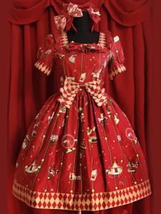 Image of Vestito da Lolita rosso classico in cotone con maniche corte