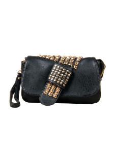 Milanoo UK  Vintage Black Studded PU Leather Clutch Bag for Women