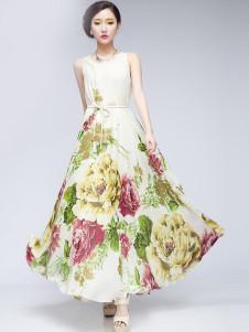 Elegant Beige Floral Print Chiffon Maxi Dress