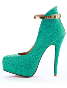 Trendy Green Almond Toe Stiletto Heel Snake Print PU Leather High Heels For Woman