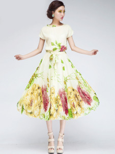 Bohemian Beige Floral Print Chiffon Maxi Dress
