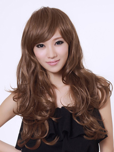 Attractive Brown Lambskin Long Curly Synthetic Wig For Women