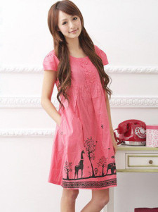 Charming Watermelon Cotton Animal Print Maternity Dress