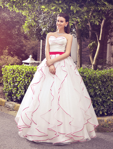 Ball Gown Sweetheart Neck Cascading Ruffle Organza Wedding Dress For Bride