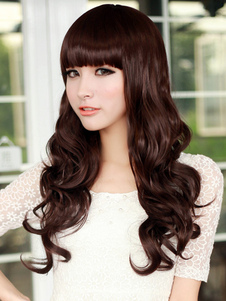 Sweet Tan Lambskin Long Curly Synthetic Wig For Women