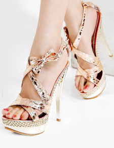 Dress Champagne Glitter Silk And Satin Stiletto Heel Women's Gladiator Sandals