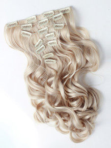 Gold Long Curly Lambskin Hair Extensions For Teen Girls
