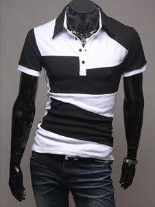 Black Color Blocking Short Sleeves Cotton Men's Polo Shirt