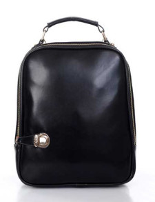 Concise Black PU Leather Backpack For Women