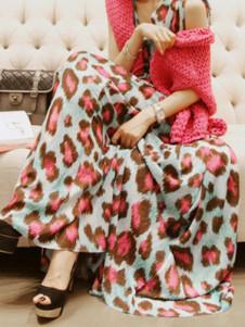 Sexy Watermelon Leopard Print Pleated Chiffon VNeck Womens Maxi Dress